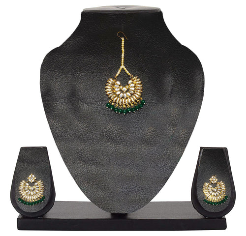 Artify Jewellery Antique Gold Plated Kundan & Pearl Earring Set with Maang Tikka for Women