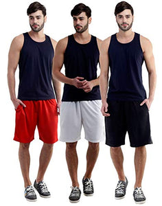 Dee Mannequin Jolly Cotton Shorts for Men Set of 3 (Red / White / Black)
