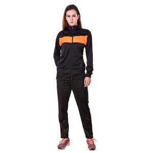 Dee Mannequin Super Poly Women Track Suit Sports (Black / Orange)