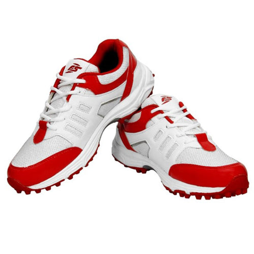 FS Men Cricket Shoes (White-Red)
