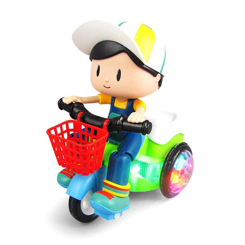 Stunt Tricycle Bump and Go Toy with 4D Lights