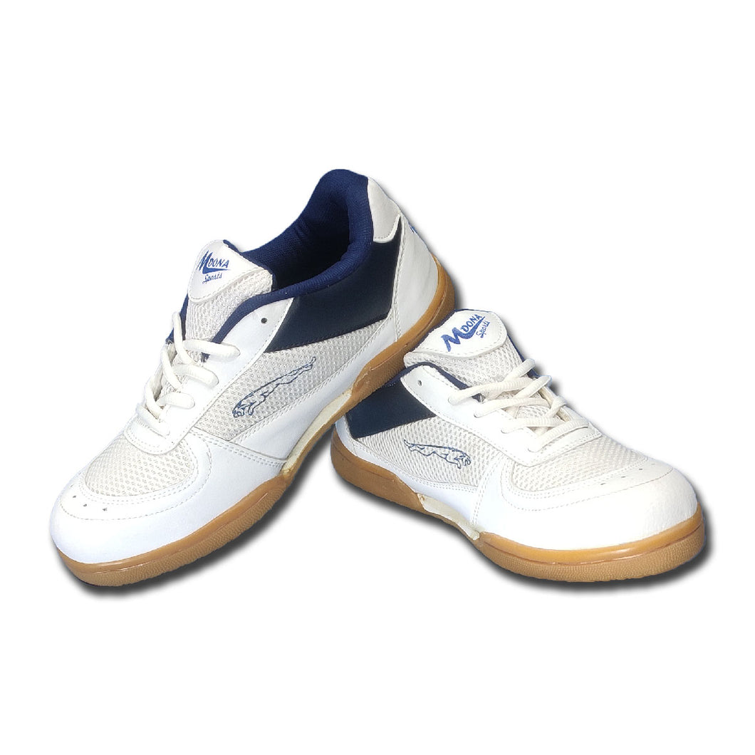 MDona Badminton Shoes for Men (White,Navy)