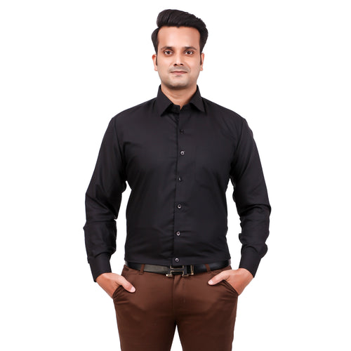 Attractive Men's Formal Cotton Shirt Black
