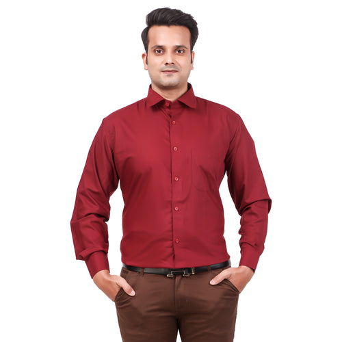 Attractive Men's Formal Cotton Shirt Maroon