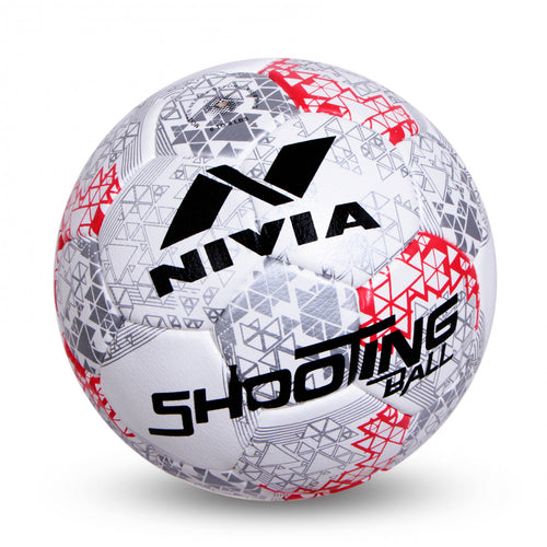NIVIA Shooting Ball Hand Stitched Size – 5 (White / Silver / Red)