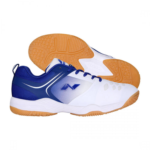 NIVIA HY-COURT 2.0 Badminton Shoes for Men (White / Navy Blue)