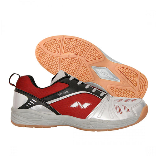 NIVIA APPEAL Badminton Shoes for Men (Silver Grey / Red)