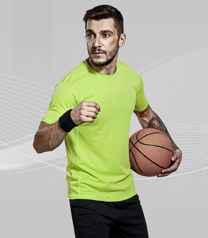 TechnoSport Crew Neck Half Sleeve Dry Fit T Shirt for Men OR-10 (Lemon Green)