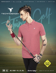 TechnoSport Polo Neck Half Sleeve Dry Fit T Shirt for Men OR-11 (Blush Red)