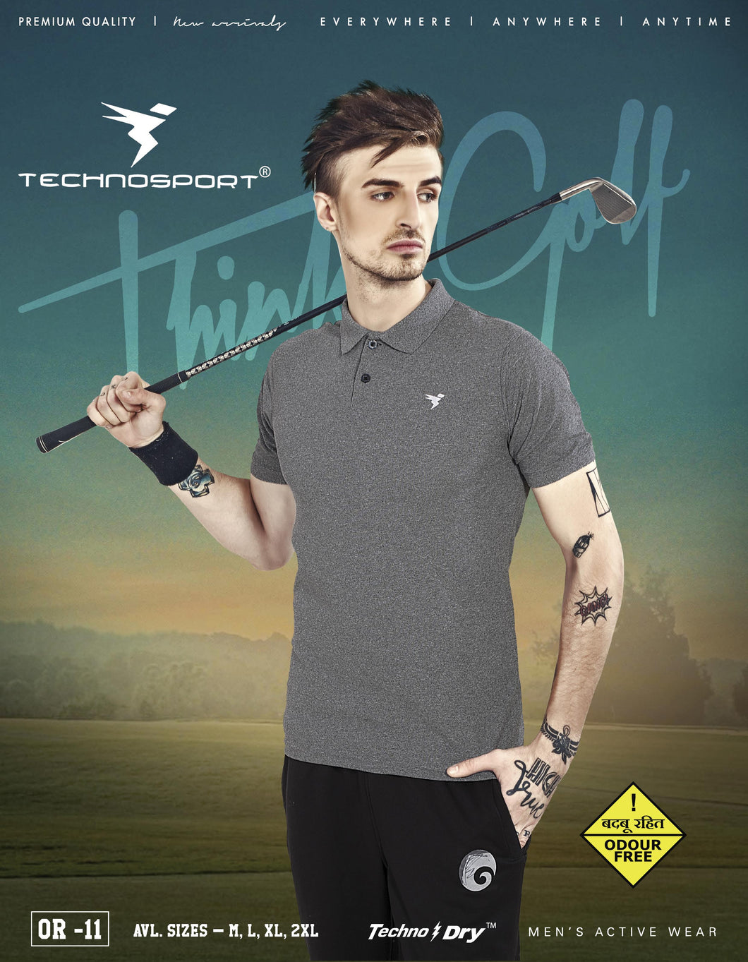TechnoSport Polo Neck Half Sleeve Dry Fit T Shirt for Men OR-11 (Grey)