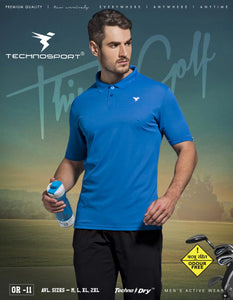 TechnoSport Polo Neck Half Sleeve Dry Fit T Shirt for Men OR-11 (Royal Blue)