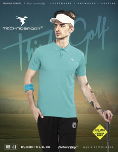 TechnoSport Polo Neck Half Sleeve Dry Fit T Shirt for Men OR-11 (Seafoam Green)