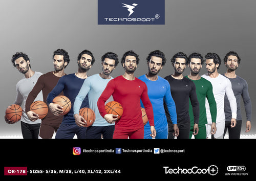 TechnoSport Crew Neck Full Sleeve Dry Fit T Shirts for Men OR-17