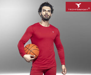 TechnoSport Crew Neck Full Sleeve Dry Fit T Shirt for Men OR-17 (Red)