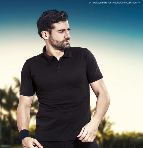 TechnoSport Polo Neck Half Sleeve Dry Fit T Shirt for Men OR-51 (Black)