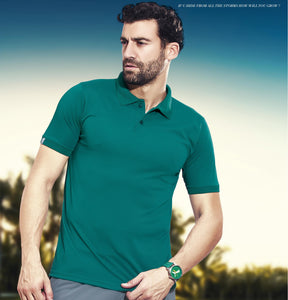 TechnoSport Polo Neck Half Sleeve Dry Fit T Shirt for Men OR-51 (Green)