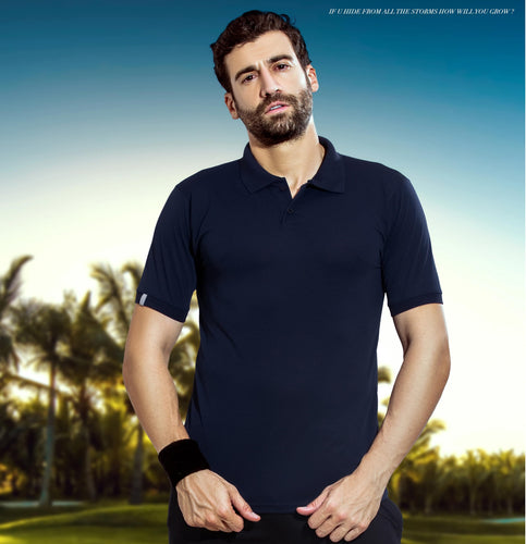 TechnoSport Polo Neck Half Sleeve Dry Fit T Shirt for Men OR-51 (Navy Blue)