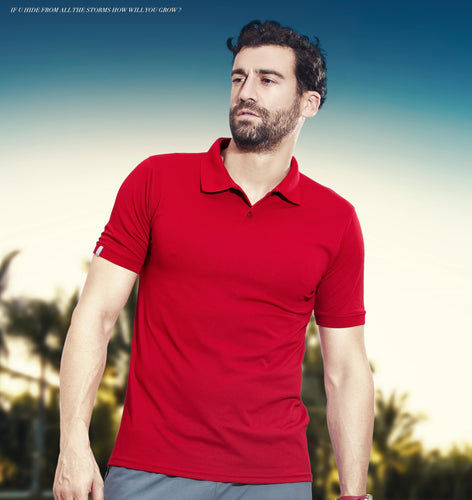 TechnoSport Polo Neck Half Sleeve Dry Fit T Shirt for Men OR-51 (Red)