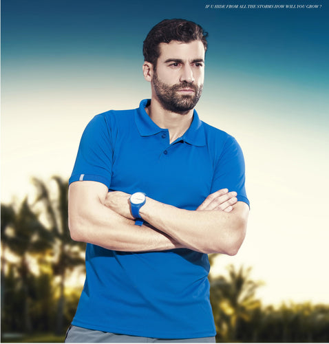 TechnoSport Polo Neck Half Sleeve Dry Fit T Shirt for Men OR-51 (Royal Blue)