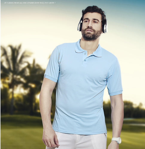 TechnoSport Polo Neck Half Sleeve Dry Fit T Shirt for Men OR-51 (Sky Blue)