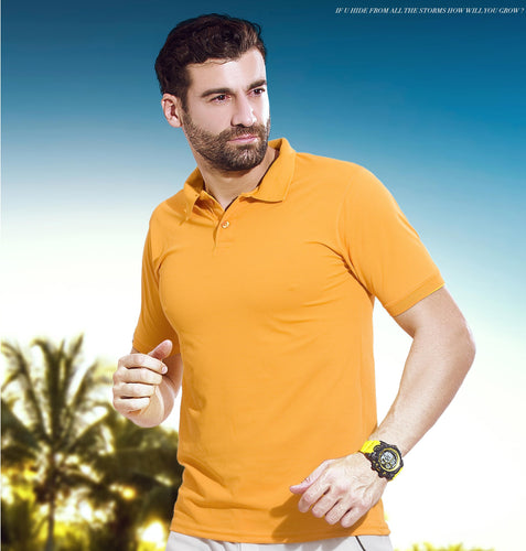 TechnoSport Polo Neck Half Sleeve Dry Fit T Shirt for Men OR-51 (Yellow)