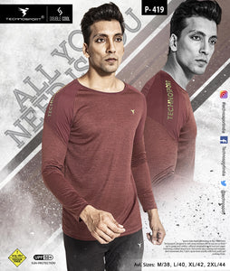 TechnoSport Crew Neck Full Sleeve Dry Fit T-Shirt for Men P-419 (Maroon)