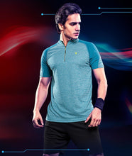 Load image into Gallery viewer, TechnoSport T Neck Half Sleeve Half Zip Dry Fit T-Shirt for Men P-435 (Sky Blue)