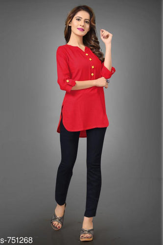 Trendy Rayon Women Top S-751268 (Red)