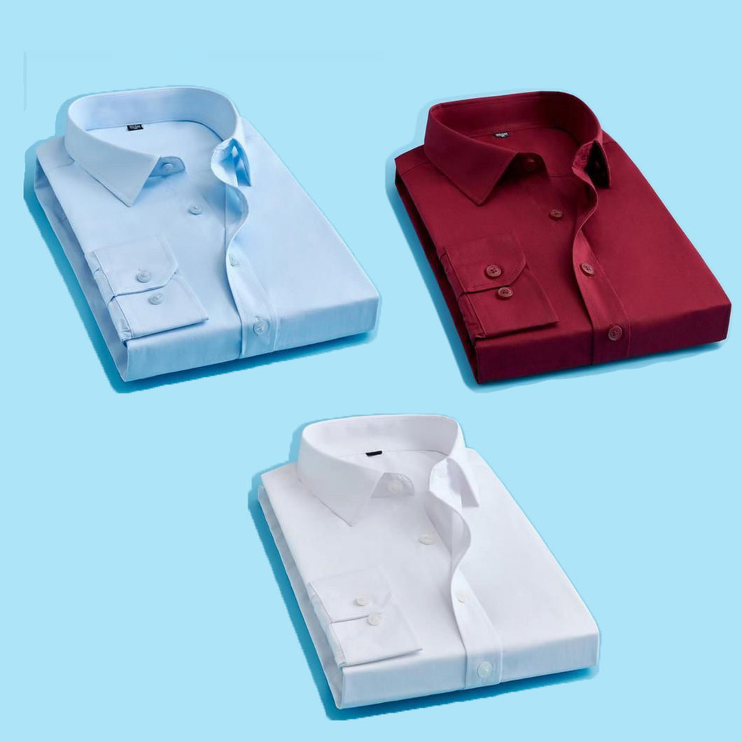 Attractive Men's Formal Cotton Shirts Combo Pack of 3