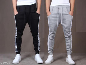 Men's Casual Solid Track Pants Combo S973565 (Black, Grey)
