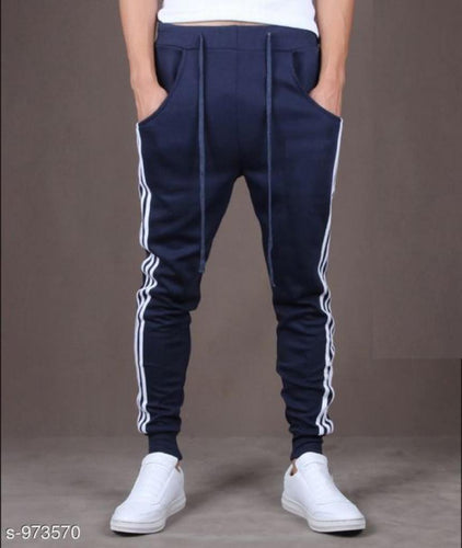 Men's Casual Solid Track Pants Navy Blue S973570