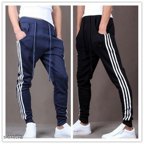 Men's Casual Solid Track Pants Combo S973572 (Black, Navy Blue)