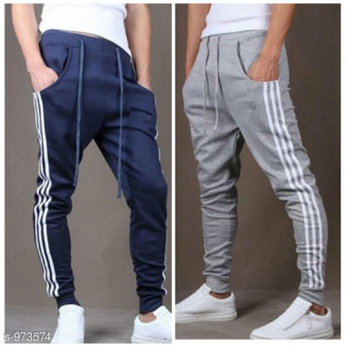 Men's Casual Solid Track Pants Combo S973574 (Grey, Navy Blue)