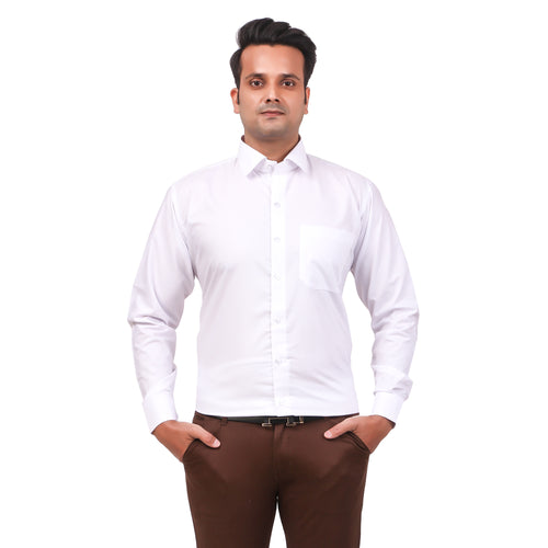 Attractive Men's Formal Cotton Shirt White