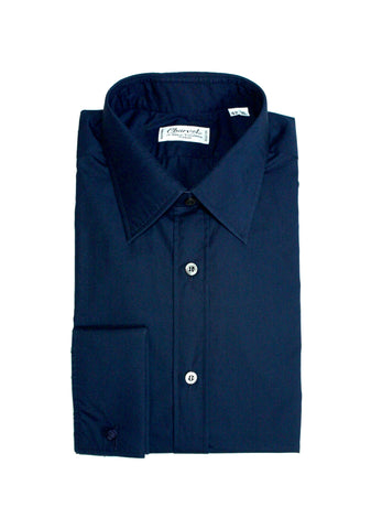 Charvet – Navy Poplin Point Collar 42 (XL)