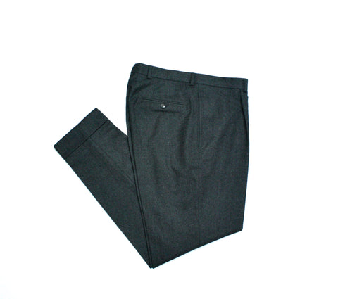 High-Rise, Single Pleated Grey Flannel Trousers 50