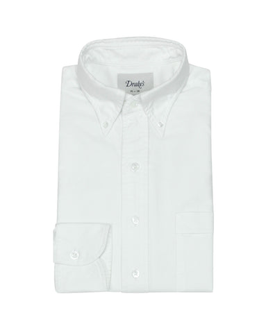Drake's - White Oxford Button-Down Shirt 38