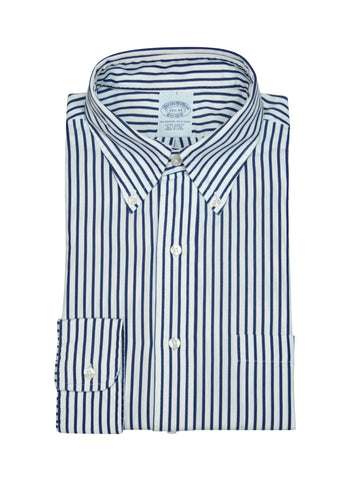 Brooks Brothers - Navy Striped Poplin BD Shirt 38