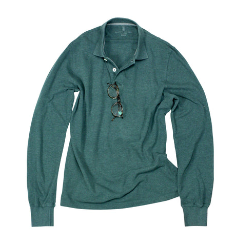 Brunello Cucinelli - Green Long Sleeved Polo Shirt M