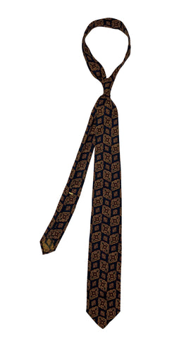 Passaggio Cravatte - Yellow and Dark Red Flowers/Navy Base Tie 4-Folded
