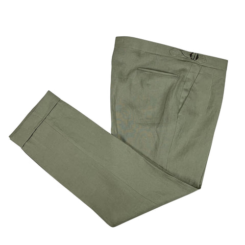 A.W. Bauer - Fern Green Linen Trousers 56