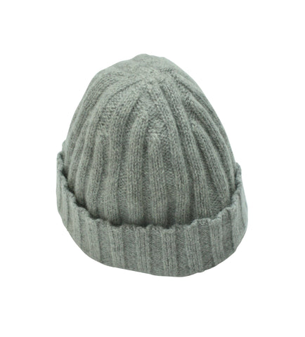 Light Grey Ribbed Alpaca Beanie