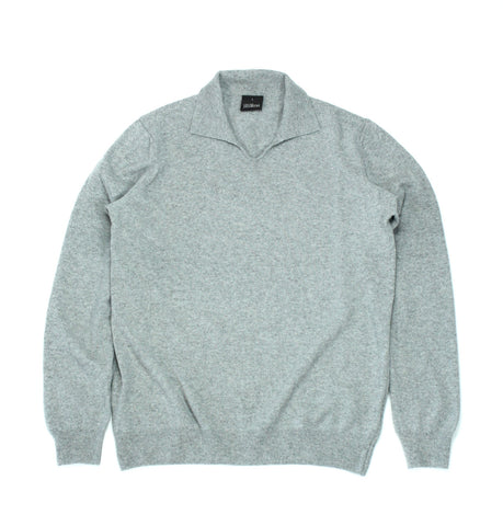 Oscar Jacobson - Wool & Cashmere Poloshirt Light Grey L