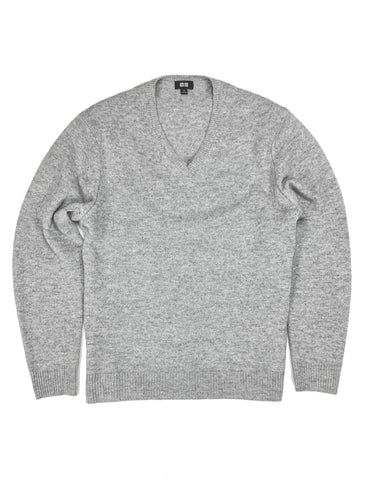 Uniqlo - Light Grey Wool V-Neck M
