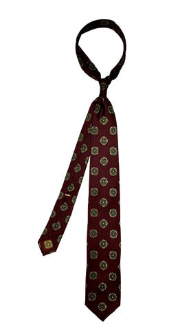 Passaggio Cravatte - Yellow Floral/Dark Red Base Tie 4-Folded