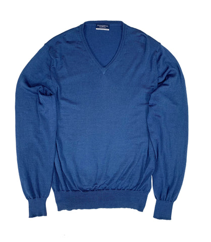 Morgano - Mid Blue Wool V-Neck M