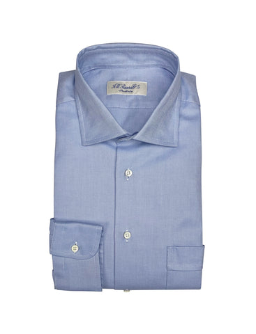 A.W. Bauer - Solid Blue Spread Collar Oxford Shirt 40
