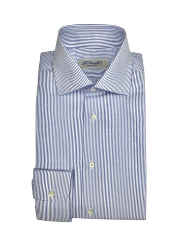 A.W. Bauer - Blue Striped Spread Collar Oxford Shirt 40