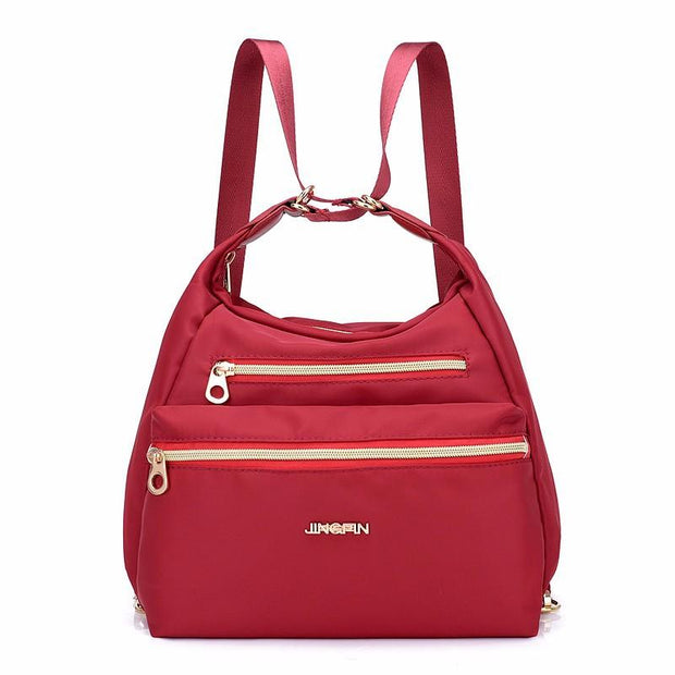 Women's fashion bag waterproof shoulder ladies backpack double zipper handbag