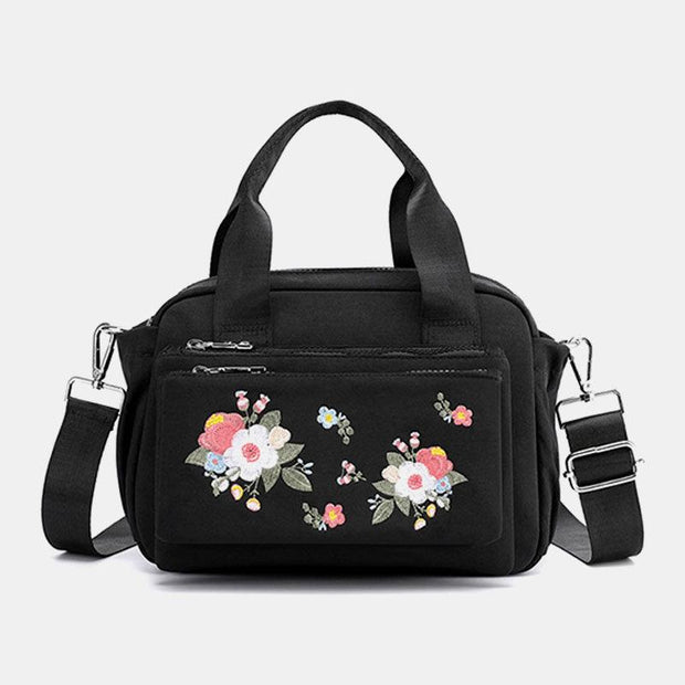 Women Nylon Floral Casual Crossbody Bag Handbag Shoulder Bag